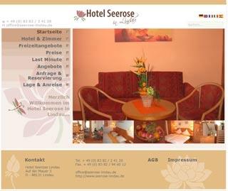 Webseite vom familienfreundlichen Hotel Seerose in Lindau am Bodensee
