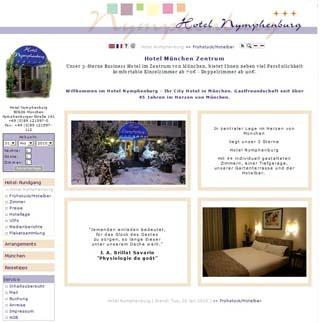 Webseite vom familienfreundlichen Hotel Nymphenburg M�nchen in Muenchen
