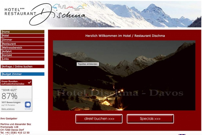 Fahrradfahrerfreundliches Hotel Restaurant Dischma in Davos Dorf