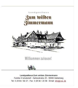 Fahrradfahrerfreundliches Landgasthaus Zum wilden Zimmermann in Hallenberg